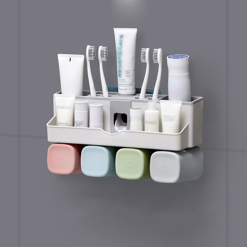 Bathroom Accessories Set Tooth Brush Holder with Cup Automatic Toothpaste Dispenser Holder Toothbrush Wall Mount Rack in Toothbrush Toothpaste Holders from Home Garden