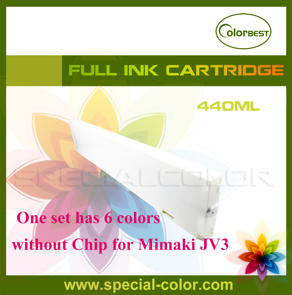 Eco solvent ink cartridge for Mimaki JV3 without chip 440ml 6 colors roland printer solvent ink cartridge tank with chip 440ml color lc