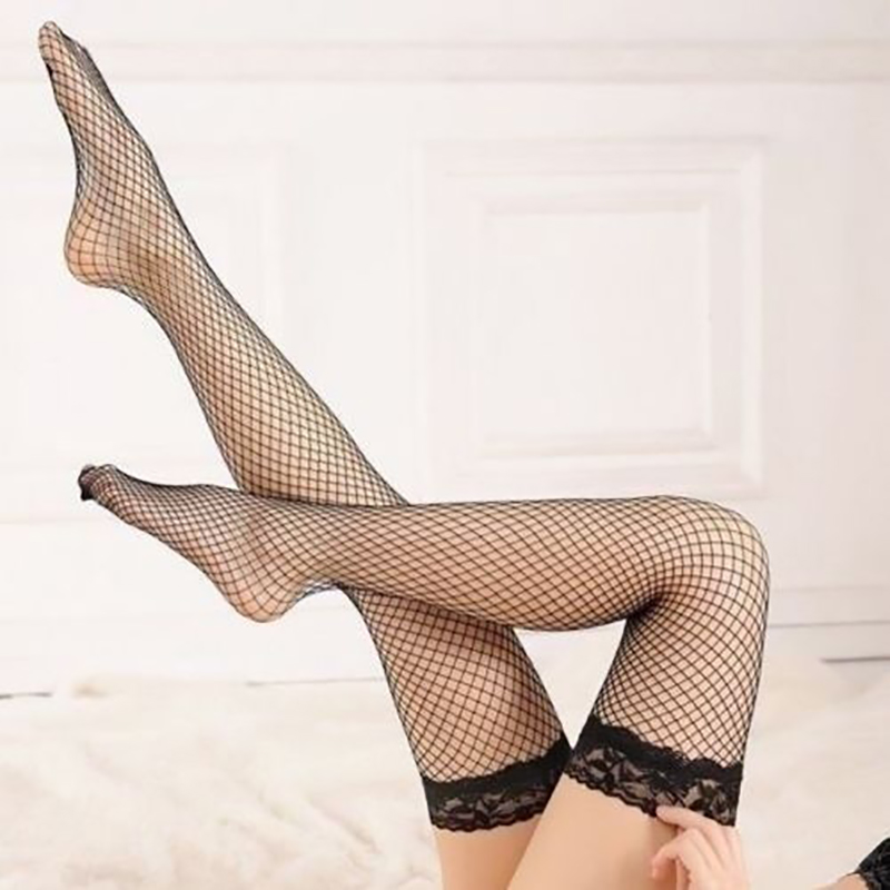 New Sexy Fishnet Stockings Lace Hollow Elastic Mesh Fishnet Women High Thigh Stockings Tights Pantyhose Transparent Black Red