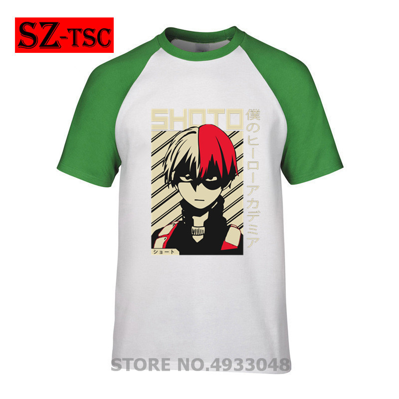 Shoto Todoroki My Hero Academia Anime Funny Black T Shirt Mens 2019 New Designs Summer Style Cotton T Shirt Top Tees