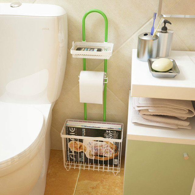 Creative Household Multifunctional Bathroom Shelf Towel Rack Wrought Iron Magazine Toilet Storage Supplies