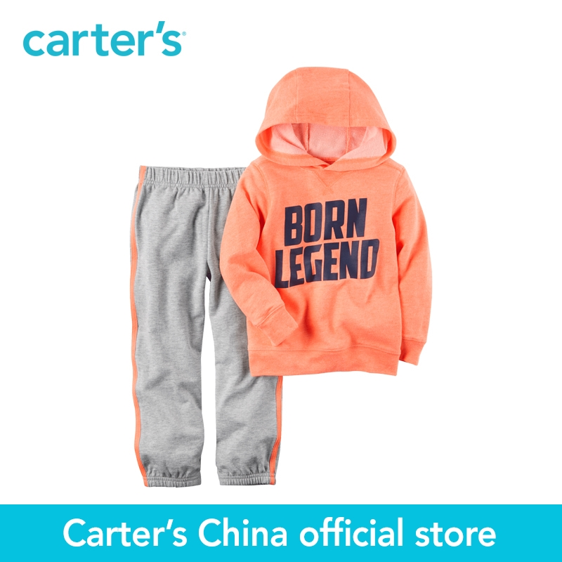Carter s 2pcs baby children kids 2 Piece Neon Hooded French Terry Top Jogger Set 249G393