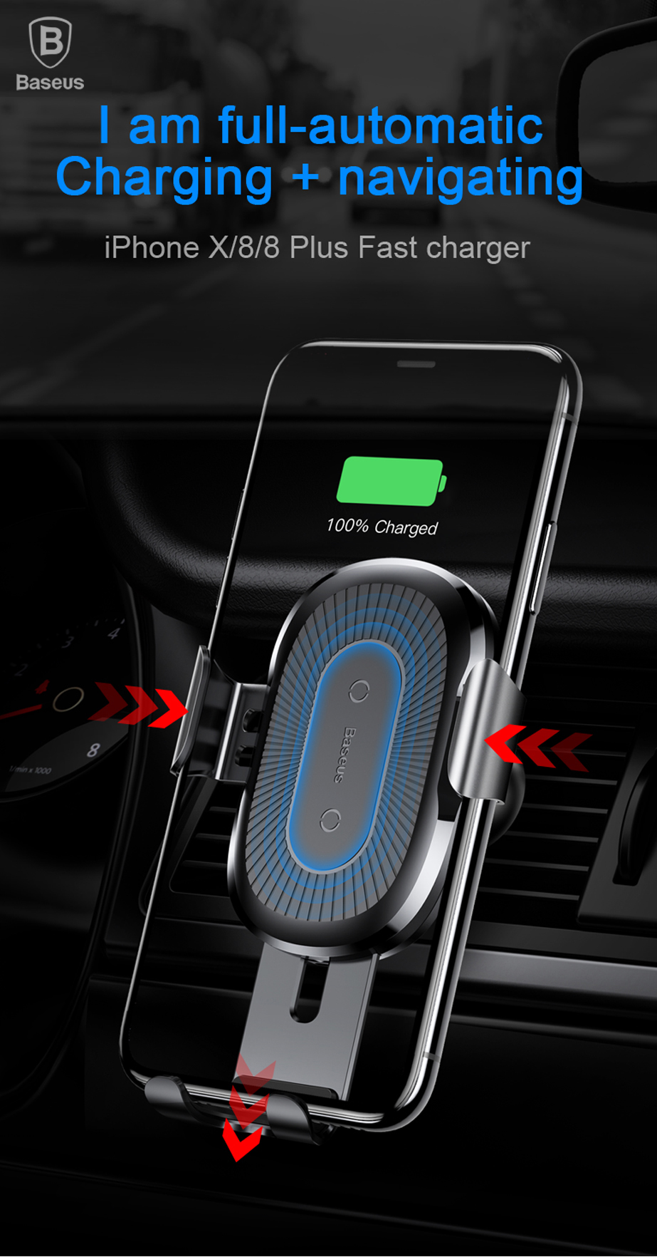 Electronics - Baseus 10W QI Wireless Charger Car Holder For iPhone X Plus Samsung S8 S9 Fast Car Mount Wireless