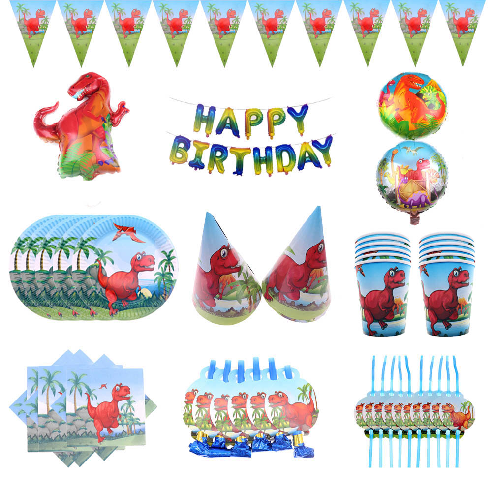 Red Dinosaur Theme Cup/Plate/Tablecloth/Hat/Ballons/Napkin/Tableware Sets For Children Happy Birthday Party Decoration Supplies