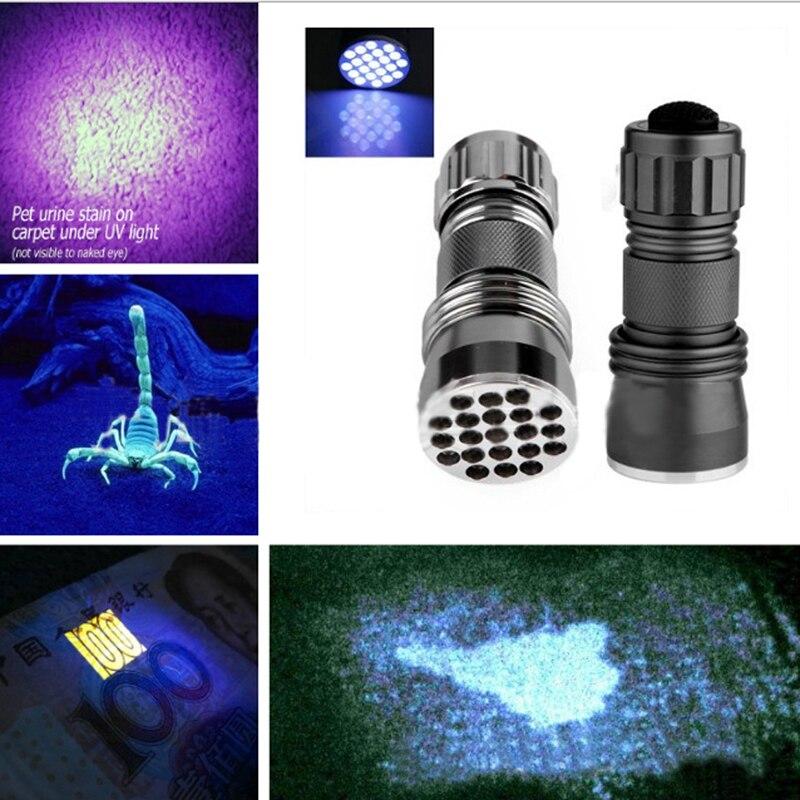 Aluminum 21 LED UV Flashlight Ultra Violet Light Blacklight Torch Lamp Free Shipping NG4S 2017 type multi function led flashlight uv ultra violet penlight pen torch lamp light 1 mode purple uv ultra led flashlight