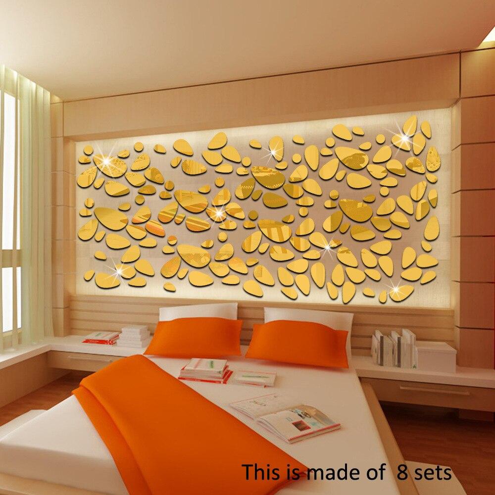 18 Pcs Set Home Decor Mirror Wall Stickers Fashion Oval Abstract Cobblestone Shape Sofa Background