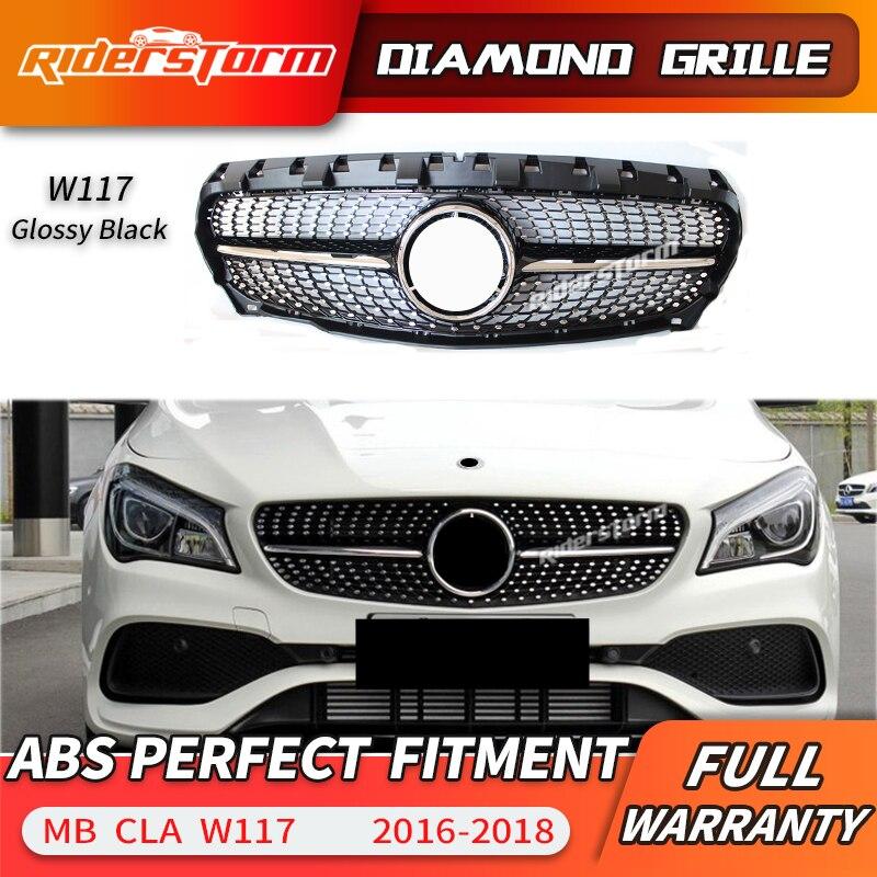 Pour CLA classe W117 Grille de calandre diamantée pour CLA180 CLA200 CLA220 CLA250 calandre de voiture pare-chocs avant lèvre avant 2013-2018