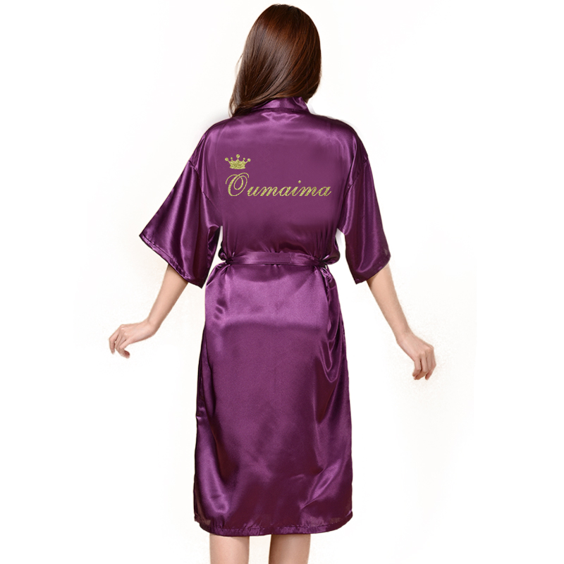 Image 4 - Custom Long Robe Wedding Personality robe for Bridedal Party Emulation Silk Soft Home Bathrobe For Women Kimono Robes-in Robes from Underwear & Sleepwears on AliExpress
