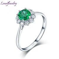 Loverjewelry Solid 14 K White Gold Real Diamond Natuurlijke Ronde Vorm Emerald Beloofd Ringen voor Vrouwen Loving Gift