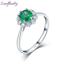 Loverjewelry Solid 14K White Gold Real Diamond Natural Round Shape Emerald Promised Rings for Women Loving Gift