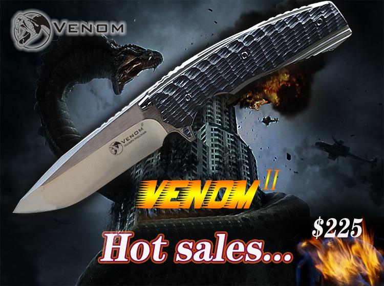 Лидер продаж Кевин Джон VENOM 2 Ножи M390 ножей Титан сплав + углеродного волокна открытый инструмент Ножи кемпинг инструмент Ножи