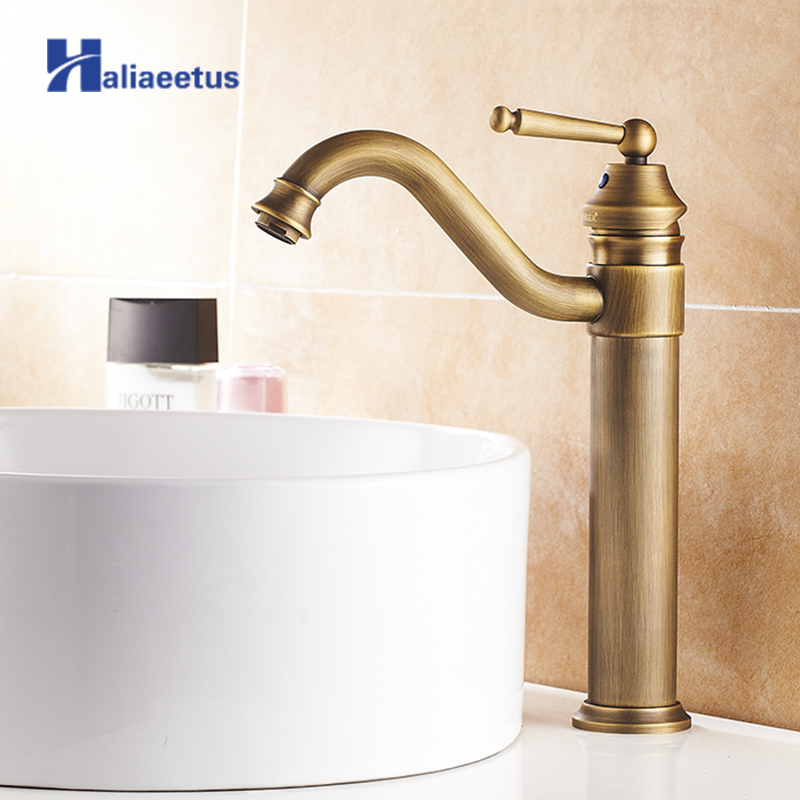 Classic Antique Brass 360 Degree Rotation Tall Bathroom Basin Faucet Sink Mixer Tap Deck Mounted Faucet