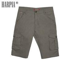 HARPIA New Khaki Men Cargo Shorts Mens Classic Pocket Knee Length Casual Shorts Male Cotton Straight Loose Bermuda Short Pants drawstring side pocket bermuda shorts