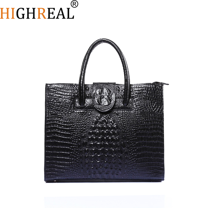 HIGHREAL Women Genuine Leather Handbags Fashion Crocodile Pattern Totes Evening Package Shoulder Messenger Bag Female Briefcase fashion new crocodile pattern calfskin women leather handbags female bag wild temperament women shoulder messenger bag