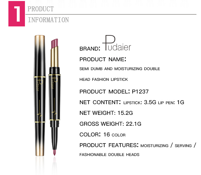 New PUDAIER Brand 16 Color Double Ended Nude Lasting Waterproof Lip Liner And Matte Lipstick Nude Dark Red Lips Liner Pencils (2)