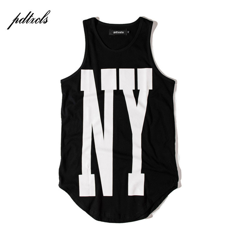 2018 Hot New York NY Extended Tank Tops Mens Urban Oversized Vest Sleeveless Summer Casual Curved Hem Long Vest