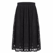 Party Elegant High Waist Skirt Women Summer Casual Floral Embroidery Lace Pleat Midi Skirt Mid Calf Long Length Skirt Female L3