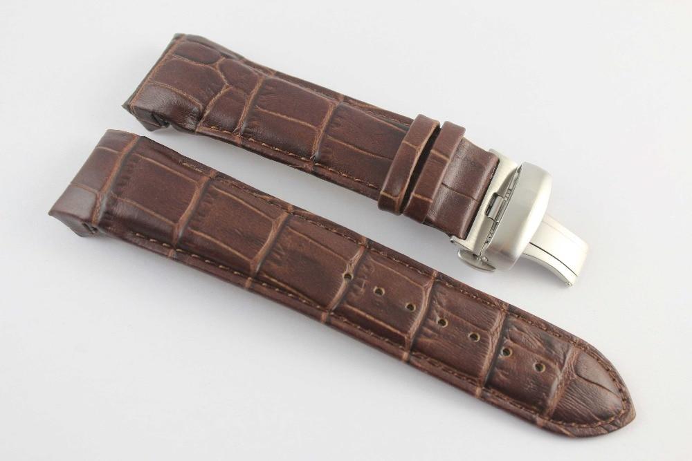 24мм (копча 22 мм) Т035627 Т035614 Сребрна копча од лептира високе квалитете + браон каишеви од праве коже за Т035