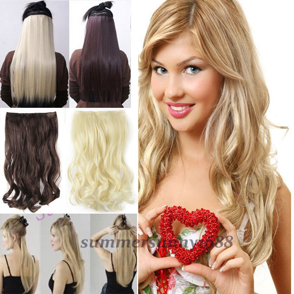 SUPER SALE 17 Curly Wavy One Piece Clip In Hair Extensions Half Full