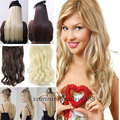 """SUPER SALE! 17"""" Curly/Wavy One Piece Clip in Hair Extensions Half Full head Synthetic Black Brown Blonde ANY Shade"""