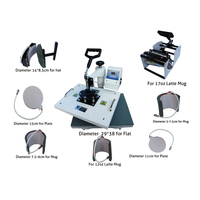 8 ב 1 מכונת דפוס העברת חום סובלימציה לספלים כובעי חולצת טי קומבו חום העיתונות מכונה עם אישור CE