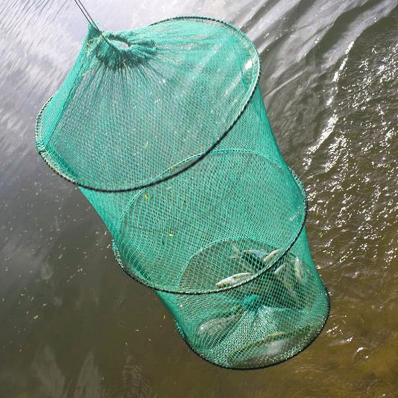2 Layers Portable Fishing Net Fish Shrimp Mesh Cage Cast Net Fishing Trap Network Foldable Fishing Net Tackle 37 X 30cm