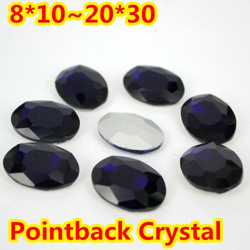 Negro Forma Oval Crystal Fancy Stone Point Volver Cristal de Piedra Para La Joyería de DIY Accessory.10 * 14mm 13*18mm 18*25mm 20*30mm