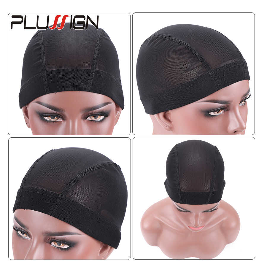 Plussign Dome Wig Cap 52cm-56cm Three Size Mesh Wig Cap Breathable Spandex Cap With Great Elastic Band 2pcs/lot Wig Making Tool