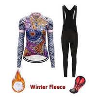 2020 pro cycling jersey set winter thermal fleece triathlon skinsuit suit bicycle clothing kit women mtb road bike clothes wear