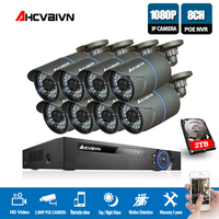 AHCVBIN 8CH 5MP POE NVR CCTV System Kit with 8PCS 1080P 2MP IR 35M Bullet POE IP Camera Outdoor Security System XMEYE P2P 2TB