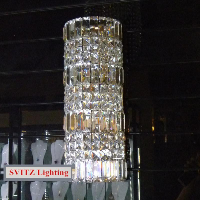 Nouvelle lampe murale Semi cylindrique en cristal Transparent de haute qualité peut être personnalisée taille grand salon en verre applique murale LED