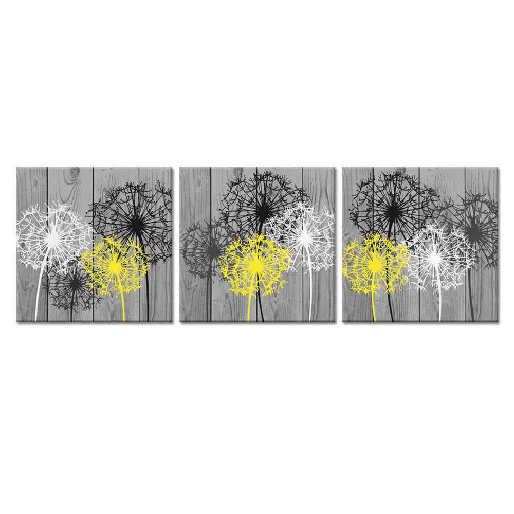 3 Pieces Bathroom Canvas Wall Art Bath Flowers White Yellow Dandelion Prints Floral Picture Print On Grey Wood Background Painting Calligraphy Aliexpress