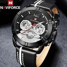 Relogio Masculino NAVIFORCE hommes montre bracelet Sport militaire étanche homme montre calendrier en cuir véritable Quartz mâle horloge 9168