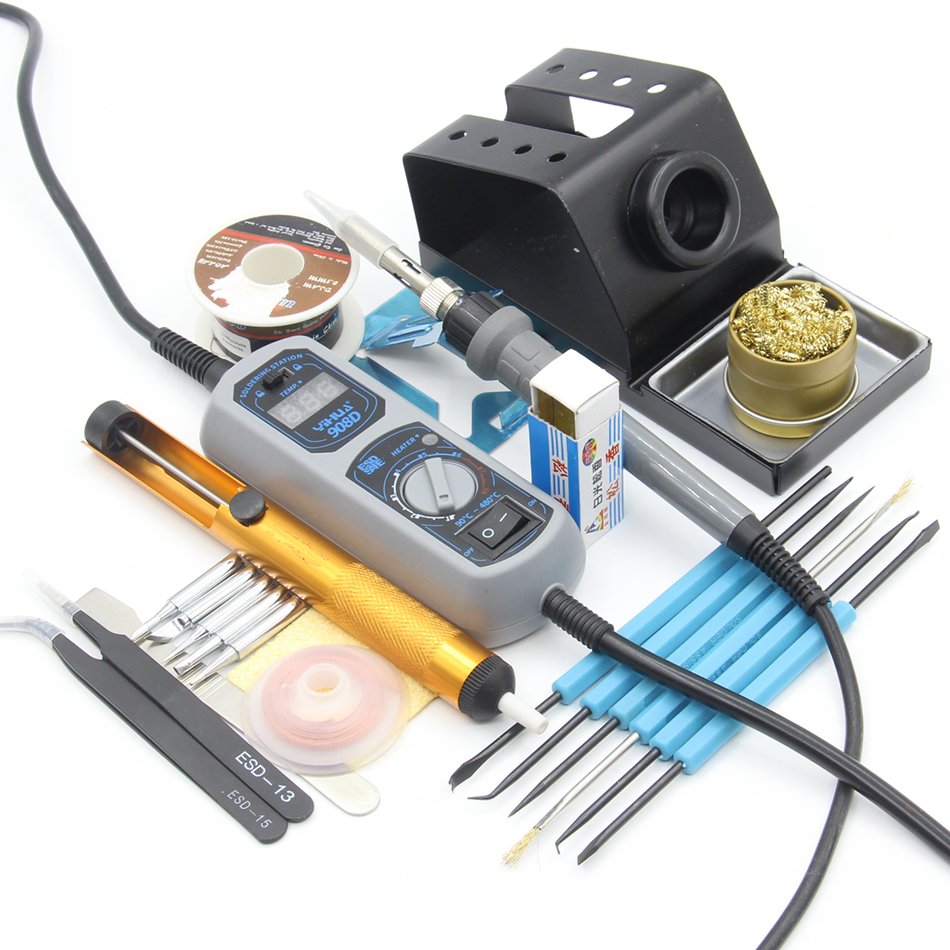 YIHUA 908D 908+ 60W Adjustable Electric Soldering Iron Constant temperature Soldering Station Toolkit hot selling yihua 926 adjustable temperature electronic soldering iron station