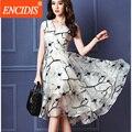 Summer Dress 2017 Качели Старинные Шелка печати Печатные Женщины Fashion Европейских Рукавов Sexy V-образным Вырезом Повседневная Dress Длинные Платья Q610