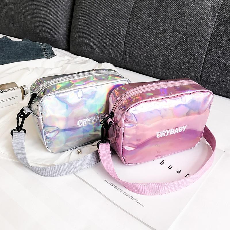 Yogodlns 2019 Holographic Laser Backpack Embroidered Crybaby Letter Hologram Backpack set School Bag +shoulder bag +penbag 3pcs