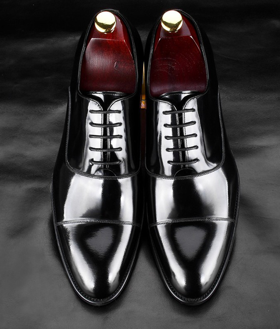 British Style Men's Shoes Round Toe Black Men's Leather Business Formal Dress Genuine Leather Shoes Men Bright Leather Shoe 6