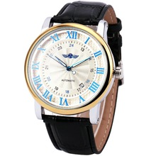 WINNER Men Fashion Automatic Watches Top Brand Luxury Leather Watchband 24-Hour Mechanical Clock Luminous Hands Calendar Date