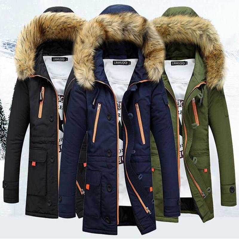 ФОТО  Winter Jacket Men Plus Size Slim Cotton Wadded Zipper Parka Mens Warm Windproof Outwear Jacket Coat Parka Homme Winter Coat