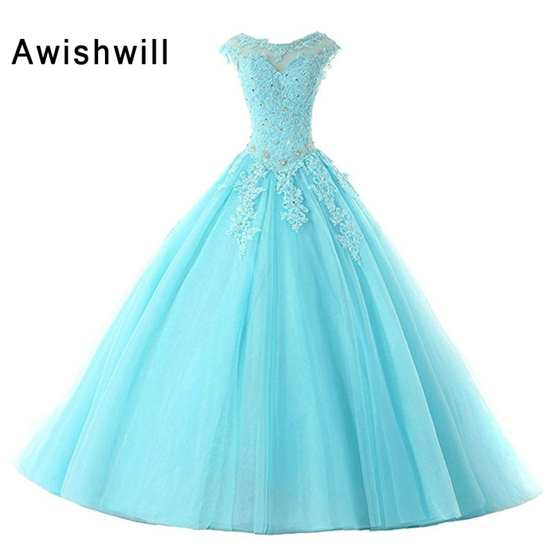 2020 Hot Sale Prom Dresses Ball Gowns Long Tulle Appliques Beaded Lace-Up Back Cap Sleeve Party Gowns Sweet 16 Dresses
