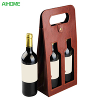 High Quality Red Wine Carrier Gift Packing Box Double Bottles With Leather Tote Hollow Wine Bags