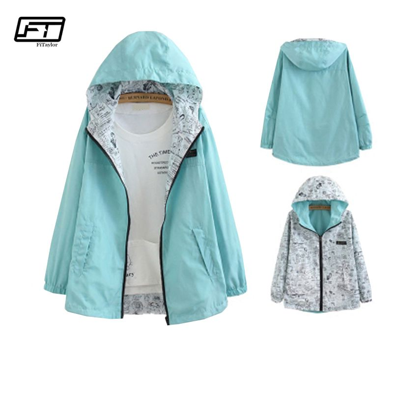 Fitaylor Women Two Side Wear Windbreaker Jackets Spring Autumn Hooded Zipper Loose Cartoon Print Outwear Female Coat
