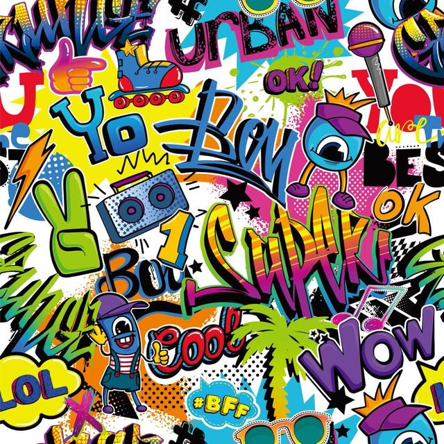 Graffiti Photographic Background 90s Hip Hop Backdrop Party Theme