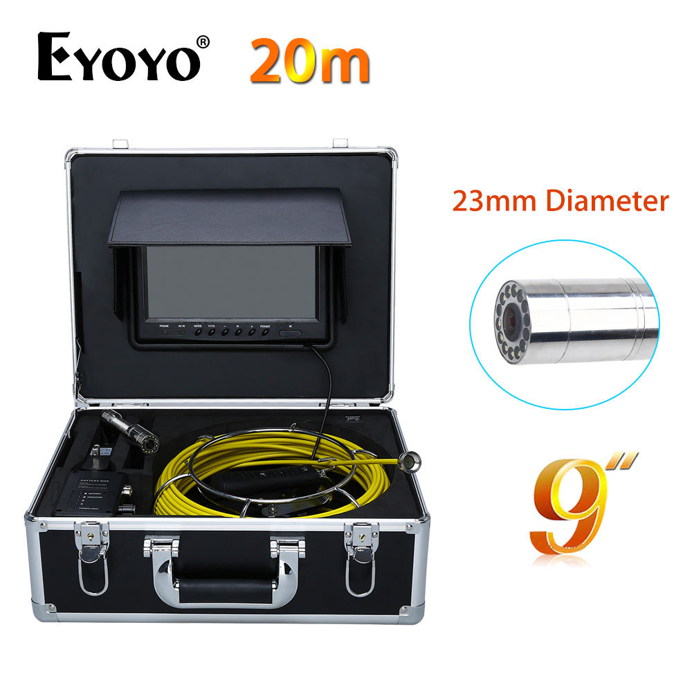 Eyoyo 20M 9 LCD 23mm Wall Drain Sewer Pipe Line Inspection Camera System Snake Endoscope CMOS 1000TVL HD Color TFT Sun shield