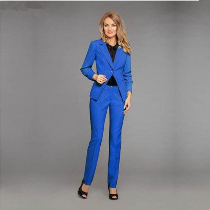 formal pants suits women Royal Blue 2 Pieces Set Women Business Suits Formal Slim Fit Female Trouser Suit
