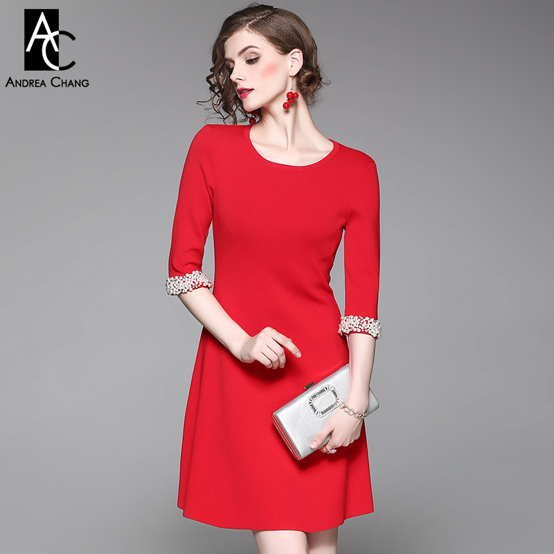 spring autumn woman dress faux pearl rhinestone beading sleeve cuff knitted dress fashion vintage elastic black red party dress spring autumn woman dress faux pearl rhinestone beading sleeve cuff knitted dress fashion vintage elastic black red party dress
