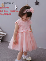hot baby dresses girl and coat 3Colour lace flower baptism dress birthday party baby girl clothes vestido infantil menina 3 24M