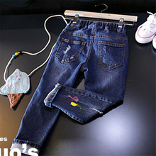 2017 New Children's Clothing Cartoon Patch Boys Jeans Girls Pants Jeans Trousers Cowboy 2-7 Spring Autumn