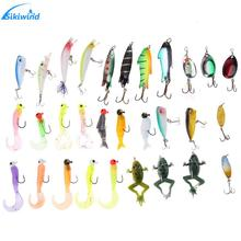 ФОТО 30pcs fishing lure kit hard metal+ frog+ minnow+ jig head lures mixed color size style pesca fishing artificial baits promotion