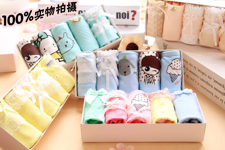 2017 Hot Sale Real Gas Tanga Panties 5pcs/lot Underwear Women Lovely Girl 100%cotton Low Waist Ms. Briefs Gift Box Underpants